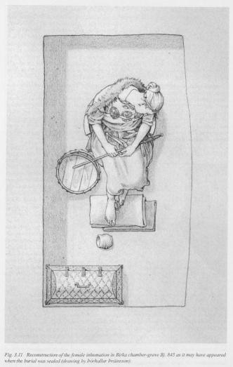 Ricostruzione della tomba di una donna sepolta con bacchetta rituale  (Birka)
